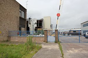 Plessey - Plessey Semiconductors factory at Cheney Manor, Swindon on 17 July 2012, undergoing demolition