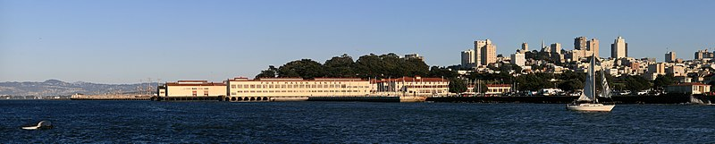 A panoramic image facing southeast toward the Fort Mason Center, taken from a position near water level.