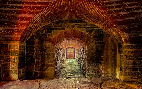 View looking down the Caponiere toward the entrance from where the canons are at Fort Washington Park, Fort Washington, Maryland, United States.