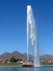 The fountain of Fountain Hills, Arizona, spews water to a height of 562 feet (171 m), once per hour.