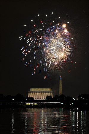 Fourth of July fireworks seen across the Potomac river at Washington, DC.