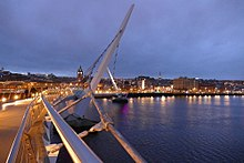 Foyle Peace bridge Derry, Northern Ireland at dusk