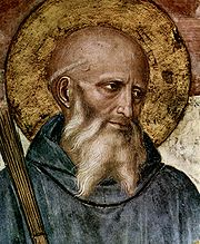 St Benedict of Nursia (c. 480-543), detail from a fresco by Fra Angelico, San Marco, Florence (c. 1400-1455).