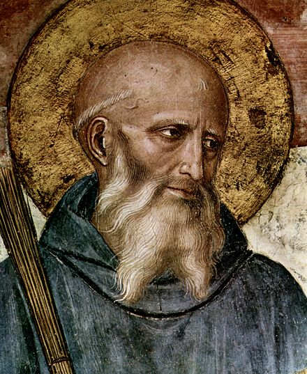 Saint Benedict, father of Western monasticism and author of Rule of St Benedict. Detail from fresco by Fra Angelico, c. 1437-46. Fra Angelico 031.jpg