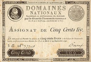 Economic history of France -  Early Assignat of 29 Sept, 1790: 500 livres