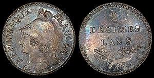 Essai (coin) - Image: France 1799 2 Decimes (pattern)