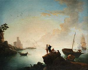 Francesco Fidanza - Mediterranean scene with fishermen in front of a cannon shooting galley by Francesco Fidanza