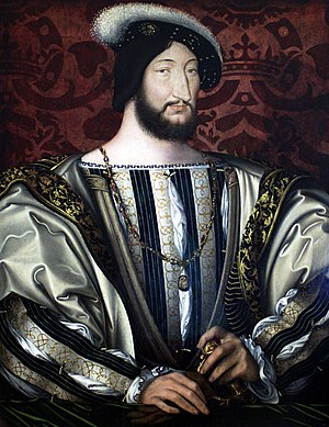 Italian War of 1521–26 - Francis I of France, painted by Jean Clouet.  Francis, stymied in his ambition to become Holy Roman Emperor, pushed Europe into war.