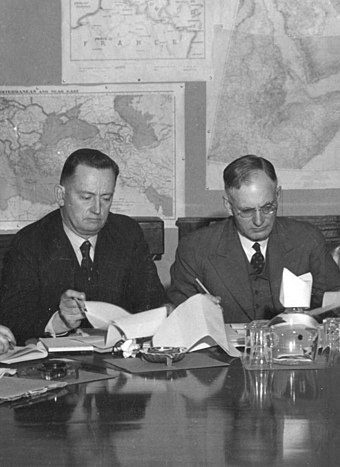 Forde and John Curtin at a meeting of the Advisory War Council in 1940 Frank Forde and John Curtin.jpg