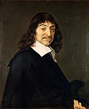 Frans Hals painting of René Descartes facing right in black coat and white collar