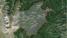 Mappa del comune di Montegallo con indicate le località abitate che compongono il comune.
