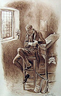 A drawing of a man sitting on a stool at a writing desk