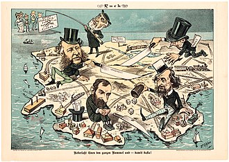 Robber baron (industrialist) - Let Them Have It All, And Be Done With It! (1882): A satirical cartoon from the German language edition of Puck Magazine, critical of those ostensibly carving up the country for their own benefit.