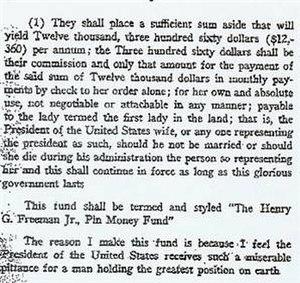 Henry G. Freeman Jr. Pin Money Fund - Excerpt of Henry G. Freeman Jr.'s will establishing the Henry G. Freeman Jr. Pin Money Fund.