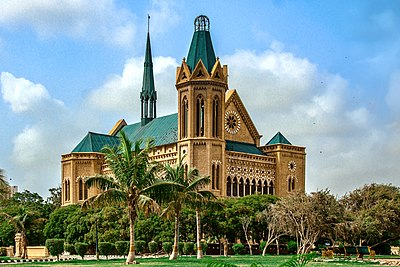 Some of Karachi's most recognized structures, such as Frere Hall, date from the British Raj. Frere Hall Karachi. Pakistan.jpg