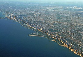 Aerial view of seven mile long Lincoln Park shoreline