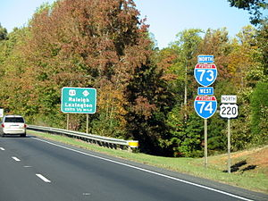 Interstate 73 in North Carolina - Future I-73 and I-74 (US 220) northbound near Asheboro, NC, signs were removed when freeway designated I-73/I-74 in 2012