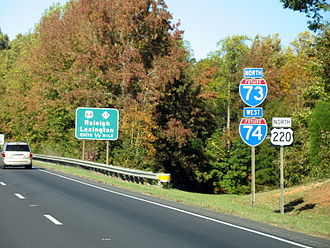 Interstate 74 in North Carolina -  I-73/I-74/US 220, near Asheboro