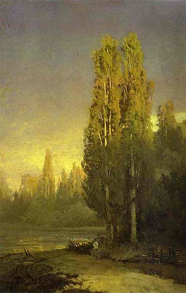 File:Fyodor Vasilyev Poplars lit by the sun.jpg