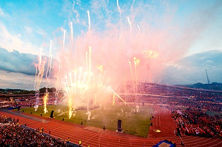 Fireworks at the opening ceremony of Gothia Cup Fyrverkeri pa Gothia.jpg