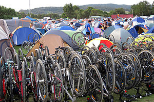 Great Victorian Bike Ride - Bikes and tents fill the Bruthen football ground on the first night in 2012