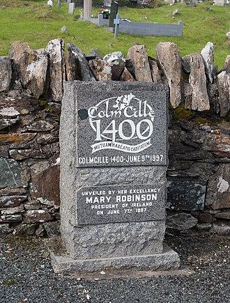 Gartan - Image: Gartan Ráth Cnó Colm Cille 1400 Memorial Plaque 2012 09 19