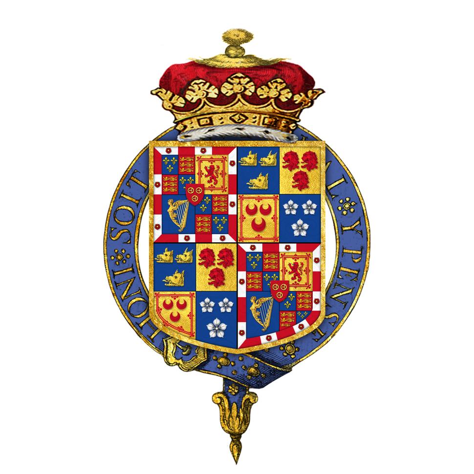 Garter encircled shield of arms of Charles Gordon-Lennox, 7th Duke of Richmond, KG, GCVO