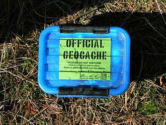 Geocaching - A geocache that has been clearly labelled, in order to clarify that the container is harmless in an attempt to reduce alarm if accidentally discovered.