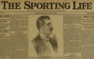 George Wood (baseball) - Wood on front page of The Sporting Life, June 20, 1891