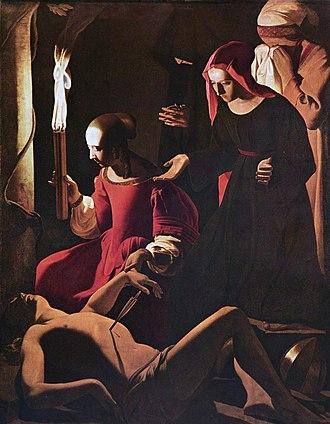 Saint Sebastian Tended by Saint Irene (Georges de La Tour, Gemäldegalerie) - Image: Georges de La Tour 004