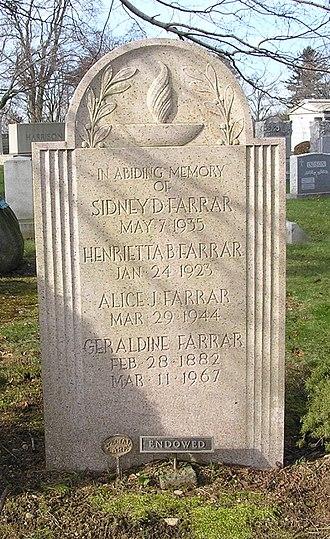 Geraldine Farrar - The headstone of Geraldine Farrar