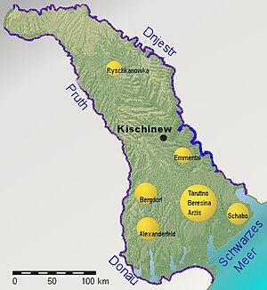 Bessarabia Germans - Main settlement areas of the 150 German colonies in Bessarabia