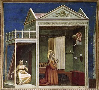 Themes in Italian Renaissance painting - Image: Giotto di Bondone No. 3 Scenes from the Life of Joachim 3. Annunciation to St Anne WGA09171