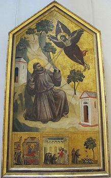 Giotto di bondone, stimmate di s. francesco con stemma cinquini, 1297-99, da s. francesco a pisa, 01.JPG