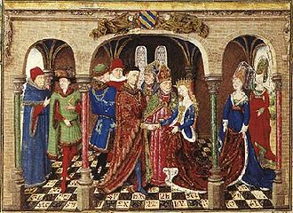 Girart de Roussillon - Marriage of Girart de Roussillon from an illuminated manuscript, c. 1450, in the collection of the Österreichische Nationalbibliothek, Vienna. Master of Girart de Roussillon
