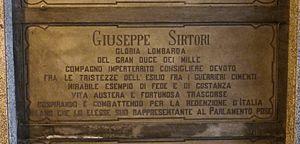Giuseppe Sirtori - Sirtori's grave at the Monumental Cemetery of Milan, Italy