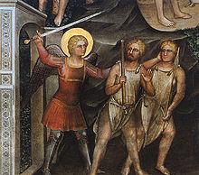 Un Cherubino ritratto da Giusto de' Menabuoi a difesa dell'ingresso dell'Eden nei confronti di Adamo ed Eva.