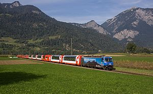 Rhaetian Railway - Glacier Express between Reichenau-Tamins and Bonaduz.
