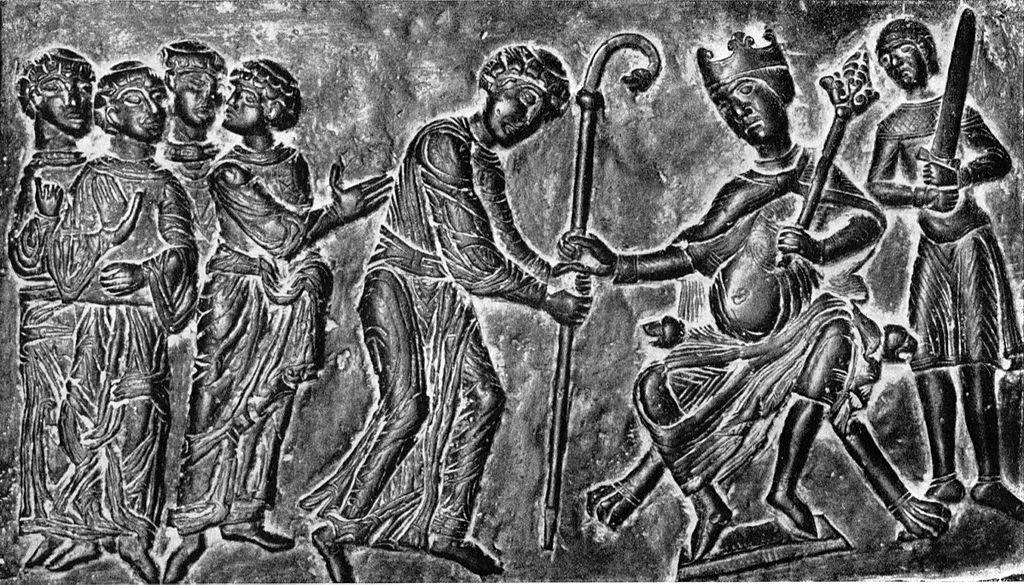 Keiser Otto II overgir Adalbert av Praha bispestaven, relieff på døren til domkirken i Gniezno (1100-t)