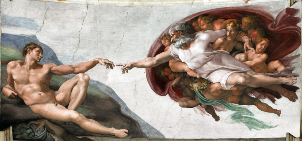 Création de l'homme par Michel-Ange sur le plafond de la chapelle Sixtine dans le Vatican à Rome.