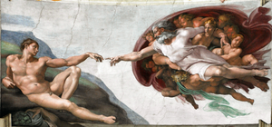 Trinitarian Universalism - Michelangelo: Detail of Sistine Chapel. God reaching out to Adam
