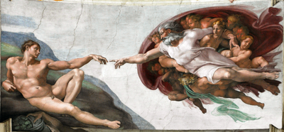 Michelangelo's The Creation of Adam, a fresco on the ceiling of the Sistine Chapel, shows God creating Adam, with Eve in His arm. While not strictly true to the Genesis account, this is one of the most famous depictions of the creation of Adam and Eve in Western art.