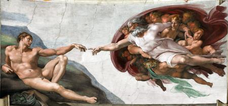 Representation du Dieu des catholiques et de la création d'Adam par Michel-Ange sur le plafond de la Chapelle Sixtine du Vatican de Rome