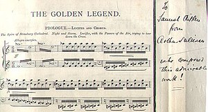 The Golden Legend (cantata) - Page from a proof score of The Golden Legend signed by Sullivan, 1886