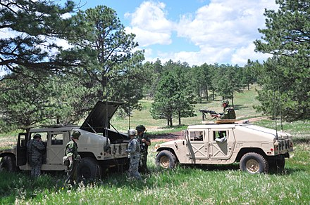 A joint patrol between Arizona National Guard and the Danish Home Guard during the Golden Coyote training exercise. Golden Coyote exercise underway in the Black Hills 120610-A-AB123-003.jpg