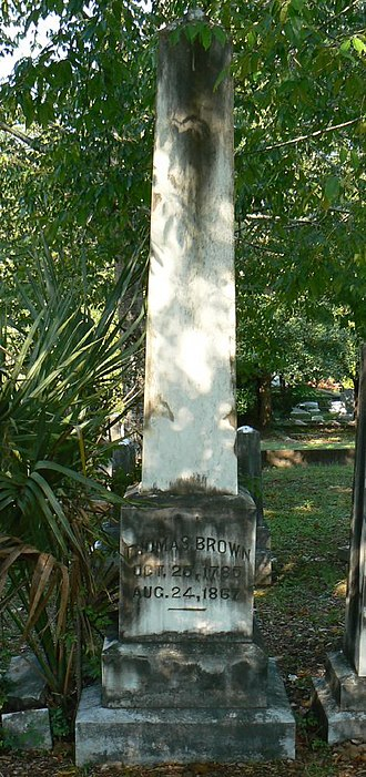 Thomas Brown (Florida politician) - Grave of Gov. Brown, in Tallahassee FL; 2007.