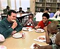 Governor Jeb Bush sharing a pizza lunch with Raa Middle School students.jpg