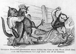 "Beriah Magoffin - 1861 political cartoon: ""Governor Magoffin's neutrality means holding the cock of the walk (Uncle Sam) while the confederate cat (Jeff Davis) kills off his chickens."""