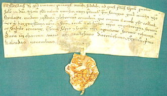 Charenza - 1234 document granting Lübeck law to Stralsund, signed in Charenza