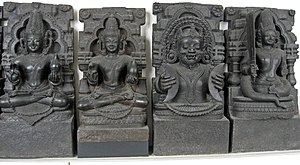 Navagraha, British Museum originally from Konark, Orissa. From left:  Surya, Chandra, Mangala, Budha, Brihaspati, Shukra, Shani, Rahu, Ketu